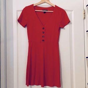 above knee v-neck red dress